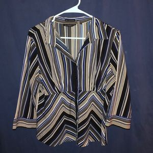 Blue black and white striped button up soft blouse